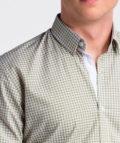 Žali vyriški marškiniai ilgomis rankovėmis internetu pigiau K467 13443-2