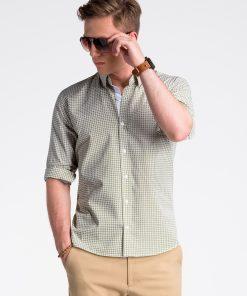 Žali-rudi vyriški marškiniai ilgomis rankovėmis internetu pigiau K467 13443