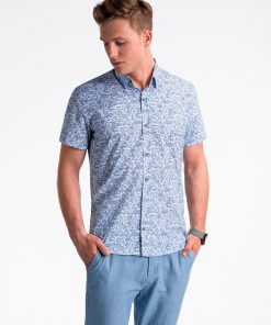Balti-tamsiai mėlyni gėlėti marškiniai vyrams trumpomis rankovėmis internetu pigiau K474 13445-4