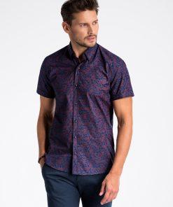 Tamsiai mėlyni gėlėti vyriški marškiniai trumpomis rankovėmis internetu pigiau K474 13446-4