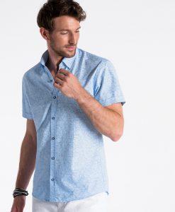 Mėlyni gėlėti marškiniai vyrams trumpomis rankovėmis internetu pigiau K474 13447-2