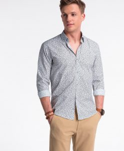 Balti-rudi gėlėti marškiniai vyrams internetu pigiau K475 13448-5