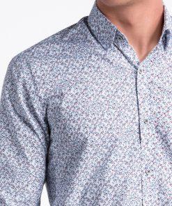 Balti-raudoni gėlėti vyriški marškiniai internetu pigiau K475 13449-2