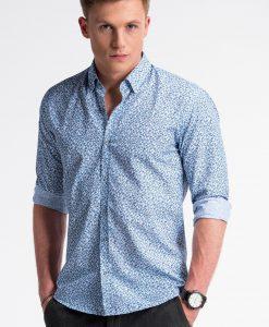 Balti-tamsiai mėlyni gėlėti marškiniai vyrams internetu pigiau K475 13450-2
