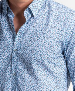Balti-tamsiai mėlyni gėlėti vyriški marškiniai internetu pigiau K475 13450-3