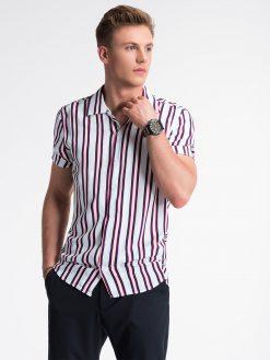 Balti-raudoni dryžuoti vyriški marškiniai trumpomis rankovėmis internetu pigiau K481 13452-4