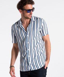 Balti-mėlyni dryžuoti vyriški marškiniai trumpomis rankovėmis internetu pigiau K481 13453-3