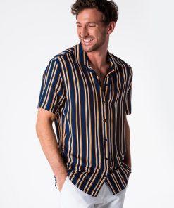 Tamsiai mėlyni-geltoni dryžuoti vyriški marškiniai trumpomis rankovėmis internetu pigiau K481 13454-3