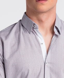 Balti-raudoni taškuoti vyriški marškiniai internetu pigiau K469 13455-4