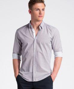 Balti-raudoni taškuoti marškiniai vyrams internetu pigiau K469 13455-5
