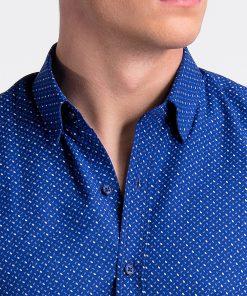 Ryškiai mėlyni taškuoti vyriški marškiniai internetu pigiau K477 13456-2