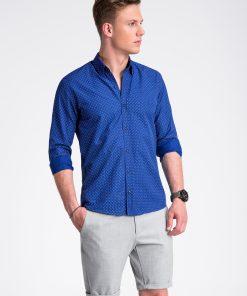 Ryškiai mėlyni taškuoti marškiniai vyrams internetu pigiau K477 13456-4