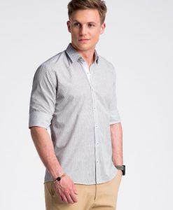 Balti-rusvi taškuoti marškiniai vyrams internetu pigiau K469 13457-2