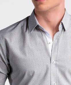 Balti-rusvi taškuoti vyriški marškiniai internetu pigiau K469 13457-6