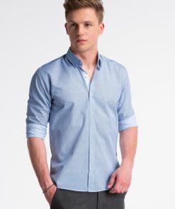 Balti-mėlyni taškuoti marškiniai vyrams internetu pigiau K469 13458-4