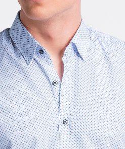 Balti taškuoti vyriški marškiniai internetu pigiau K477 13460-2