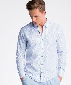 Balti taškuoti marškiniai vyrams internetu pigiau K477 13460-3