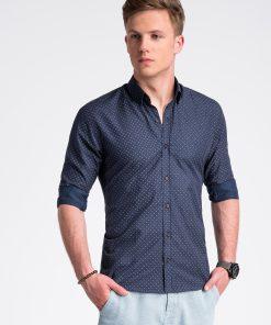 Tamsiai mėlyni taškuoti marškiniai vyrams internetu pigiau K477 13461-3