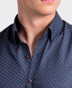 Tamsiai mėlyni taškuoti vyriški marškiniai internetu pigiau K477 13461-4
