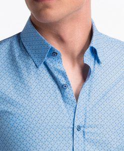 Šviesiai mėlyni taškuoti vyriški marškiniai internetu pigiau K477 13464-2