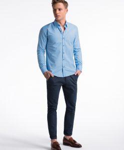 Šviesiai mėlyni taškuoti marškiniai vyrams internetu pigiau K477 13464-3