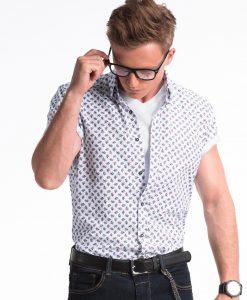 Balti gėlėti marškiniai vyrams trumpomis rankovėmis internetu pigiau K473 13466-2