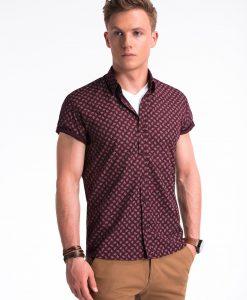 Tamsiai raudoni gėlėti marškiniai vyrams trumpomis rankovėmis internetu pigiau K473 13467-2