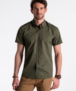 Žali-rudi gėlėti vyriški marškiniai trumpomis rankovėmis internetu pigiau K473 13468-2