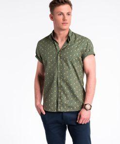 Žali-smėlio gėlėti marškiniai vyrams trumpomis rankovėmis internetu pigiau K473 13469-3