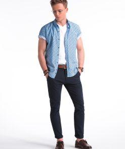 Mėlyni-balti gėlėti vyriški marškiniai trumpomis rankovėmis internetu pigiau K473 13470-4