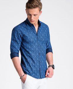 Tamsiai mėlyni marginti marškiniai vyrams ilgomis rankovėmis internetu pigiau K476 13472-6