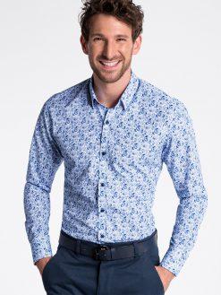 Balti marginti marškiniai vyrams ilgomis rankovėmis internetu pigiau K476 13473-3