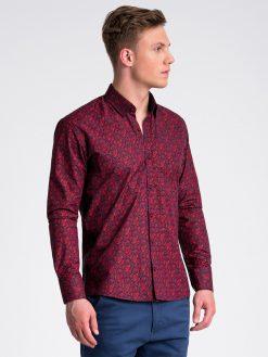 Tamsiai raudoni marginti marškiniai vyrams ilgomis rankovėmis internetu pigiau K476 13474-4