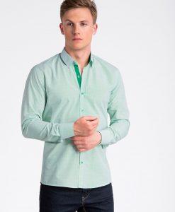 Žali smulkiai taškuoti marškiniai vyrams ilgomis rankovėmis internetu pigiau K478 13475-4