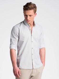 Balti smulkiai taškuoti marškiniai vyrams ilgomis rankovėmis internetu pigiau K478 13476-4