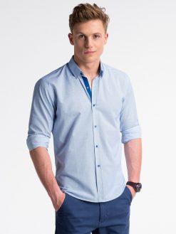 Mėlyni smulkiai taškuoti marškiniai vyrams ilgomis rankovėmis internetu pigiau K478 13477-3