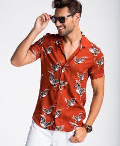 Raudoni vyriški marškiniai trumpomis rankovėmis su paukščiais vyrams internetu pigiau K483 13478-1