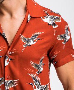 Raudoni vyriski marskiniai trumpomis rankovemis su pauksciais vyrams internetu pigiau K483 13478-2
