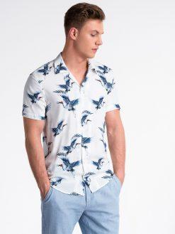 Balti vyriški marškiniai trumpomis rankovėmis su paukščiais vyrams internetu pigiau K483 13479-3