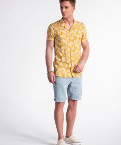 Geltoni gėlėti vyriški marškiniai trumpomis rankovėmis internetu pigiau K480 13482-1
