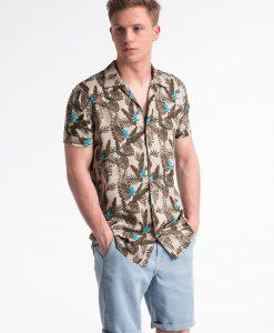 Smėlio gėlėti marškiniai vyrams trumpomis rankovėmis internetu pigiau K482 13483-1