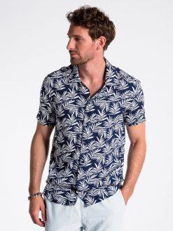 Tamsiai mėlyni gėlėti marškiniai vyrams trumpomis rankovėmis internetu pigiau K480 13485-1