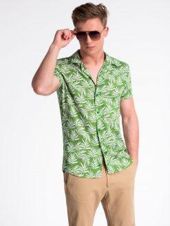Žali gėlėti vyriški marškiniai trumpomis rankovėmis internetu pigiau K480 13486-4