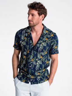 Tamsiai mėlyni gėlėti vyriški marškiniai trumpomis rankovėmis internetu pigiau K482 13488-3