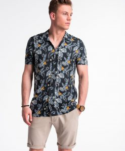 Juodi gėlėti vyriški marškiniai trumpomis rankovėmis vyrams internetu pigiau K482 13489-2