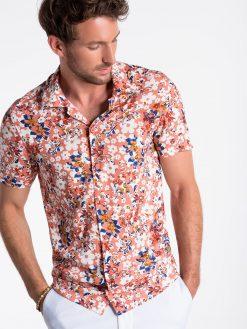 Rožiniai gėlėti vyriški marškiniai trumpomis rankovėmis internetu pigiau K485 13492-1