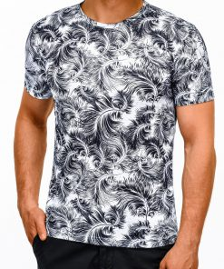 Balti marškinėliai vyrams su aplikacija internetu pigiau S1164 13495-2
