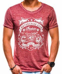 Tamsiai raudoni vyriški marškinėliai su užrašu ir aplikacija internetu pigiau S1136 13496-2