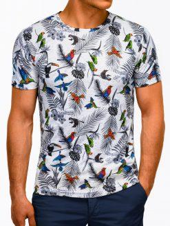 Balti marškinėliai vyrams su aplikacijomis internetu pigiau S1172 13497-2