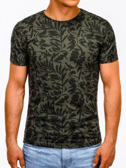 Žali marškinėliai vyrams su aplikacijomis internetu pigiau S1170 13499-2